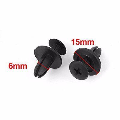 New Auto Car Door Fender 6mm Hole Push Plastic Rivets Retainer Clips Black 100 x