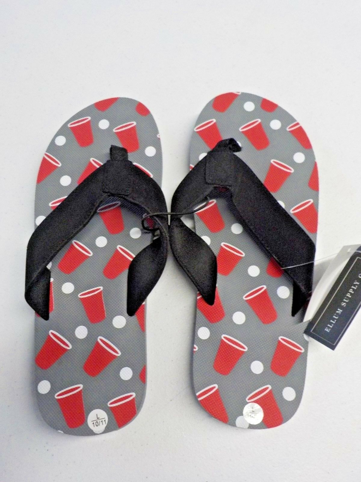MEN'S SIZE 10/11 ELLUM SUPPLY FLIP CO. BEER PONG PRINT FLIP SUPPLY FLOPS NEW NWT 652d98