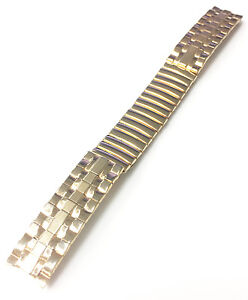 HADLEY-GOLD-PLATED-STAINLESS-STEEL-STRETCH-WATCH-BAND-STRAP-BRACELET-NOS-13MM