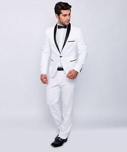 Slim Fit Herren Smoking In Weiss Hochzeit Anzug Buhne Sakko Ebay
