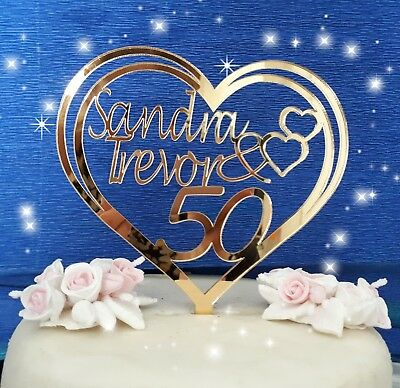 Engraved heart acrylic  Personalised wedding//anniversary cake topper decorations