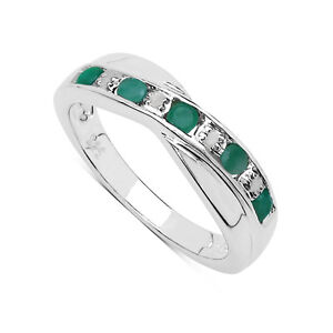 STERLING-SILVER-0-25ct-EMERALD-amp-DIAMOND-CHANNEL-SET-ETERNITY-RING-ALL-SIZES-H-W