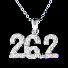 w Swarovski Crystal 26.2 Run Marathon Running Runner Races Necklace Jewelry Gift