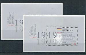 Bund-Block-48-sauber-postfrisch-2-Stueck-2050-BRD-50-Jahre-Grundgesetz-1999-MNH