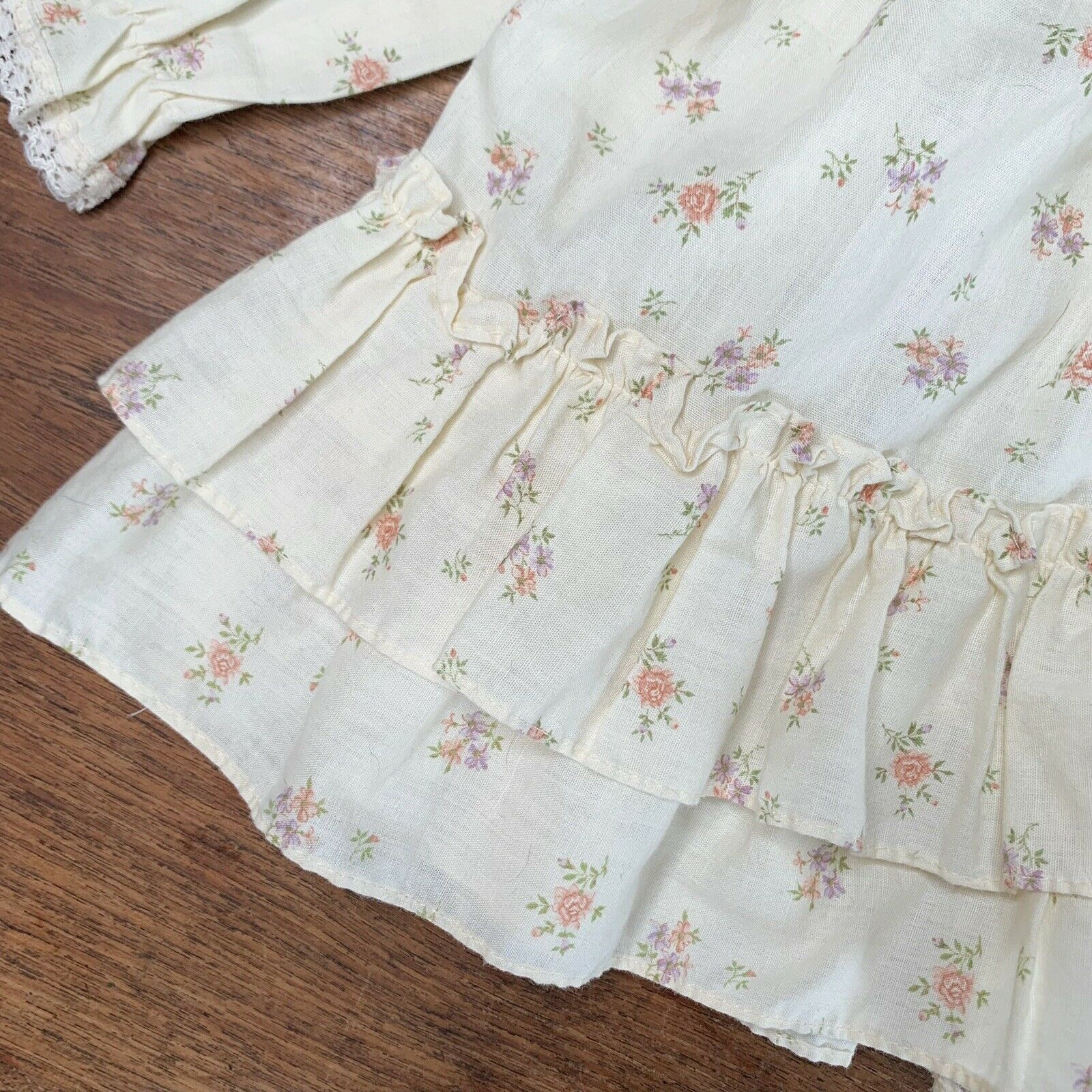 Vintage Girls 3T Tiered Prairie Dress Floral Lace… - image 3
