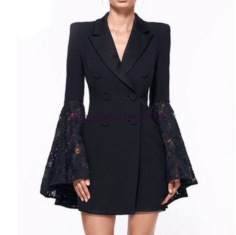 Women's Fashion Lace Slim Fit Double Breasted OL Ladies Luxury Coat Mid Long Sz
