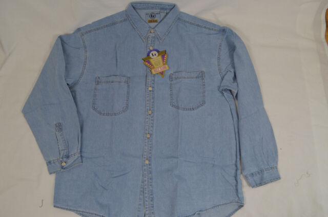 Mens long sleeve denim shirt light blue EGLE JEANS 100% Cotton Solid 2XL 3XL 4XL