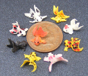 1-12-Scale-Set-Of-6-Polymer-Clay-Fan-Tail-Gold-Fish-Tumdee-Dolls-House-Pond