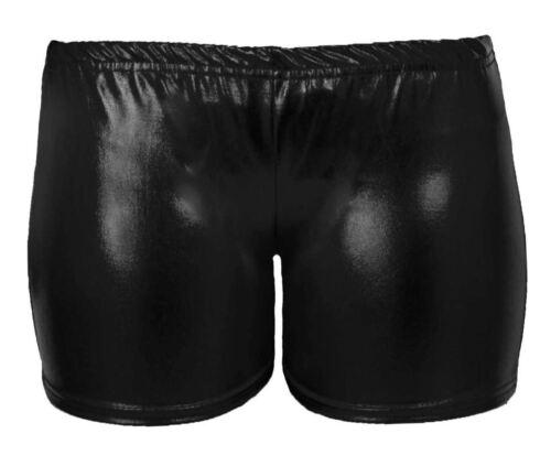 New Ladies Womens Ladies Metallic Foil Wet Look PVC Shiny Disco Gym Party Short
