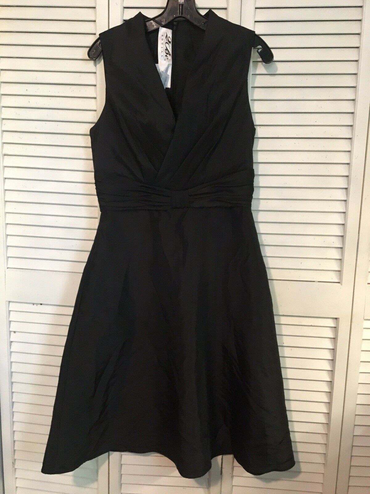 Prom/Bridesmaid gown black by 2 Be Social sleevless deep v neck Size 10
