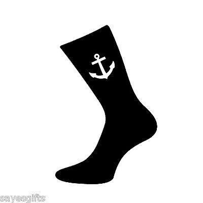 Pair of Mens Nautical Anchor Design Black Socks   eBay