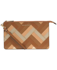 5be4625f812a Image is loading Michael-Kors-Daniela-Large-Marquetry-Patchwork-Leather- Wristlet-