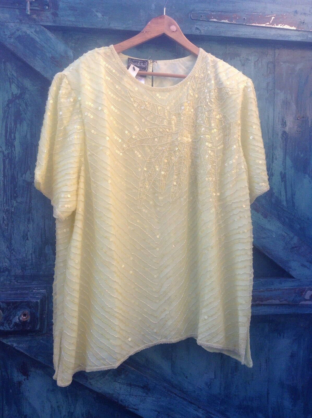 Womens Vintage Beaded Silk Top 24 26 Yellow Designer Evening Party Christmas Vg