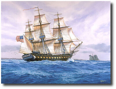"/""High Seas Diplomacy/"" Tom Freeman Naval Art USS Frigate Constellation 1799"