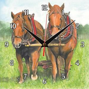 No-110-Suffolk-Punch-Horses-Sue-Podbery-Wall-clock-Lovely-handmade-gift-present