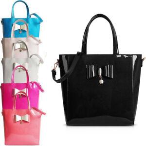 Ladies-LYDC-Patent-Bow-Bucket-Shoulder-Bag-Shopper-Bag-Handbag-School-Bag-GL7693