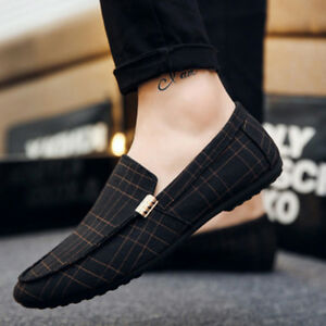 US-8-5-10-5-Men-Plaid-Loafers-Driving-Moccasins-Casual-Dress-Soft-Penny-Shoes
