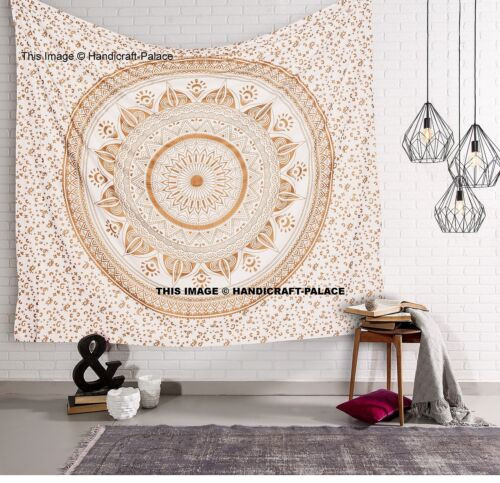 5 PCs Indian Gold Ombre Mandala Doona Duvet Cover Set with Bedspread Curtains