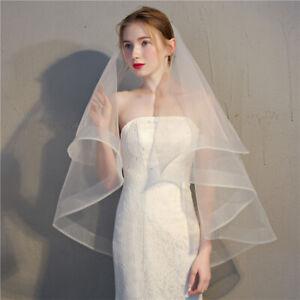 women tulle 2t white ivory wedding short retro veil bridal