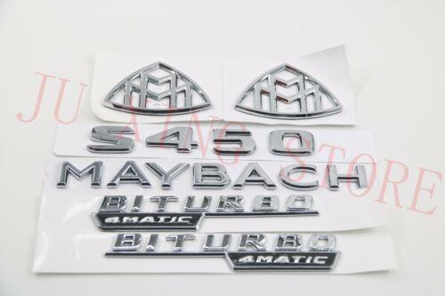 "Silver New Flat Badge Emblem /""2LOGO+MAYBACH+S450+BITURBO/"" for Mercedes-Benz S450"