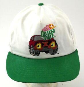 Quaker-State-4x4-Truck-Advertising-Snap-Back-Hat-Cap-Green-amp-White