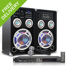 """Skytec 8"""" Karaoke Party System RGB LED Speakers Microphones DVD CD+G Player 600W"""