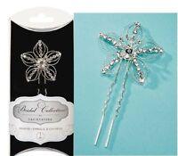 David Tutera Rhinestone Hair Pin Wire Flower Silver 1.6 Inches In Diameter