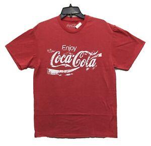 Coca-Cola-Men-039-s-Enjoy-Coke-Distressed-Print-Licensed-T-Shirt-Heather-Red-New