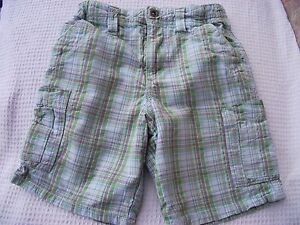 Boys-Age-3-Cherokee-Pale-Green-amp-Brown-Check-Cotton-Shorts