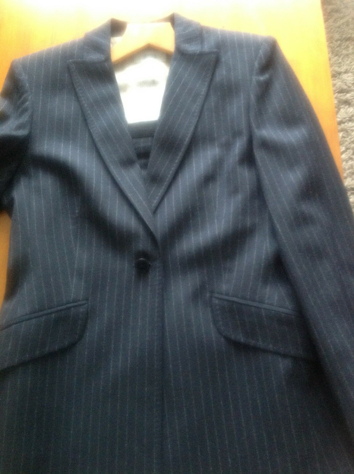 Marks and spencer ladies navy pinstripe skirt suit size 10