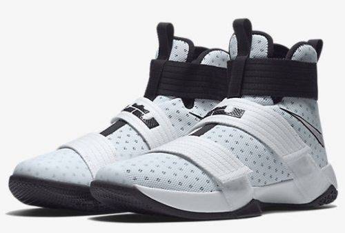 Mens Nike Air Lebron Soldier 10 X TB Sneakers New White Black Silver 844380-100