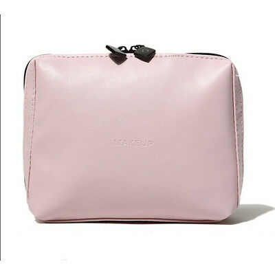 New Women Multifunction Travel Cosmetic Bag Pink Leather Makeup Case Pouch Bag