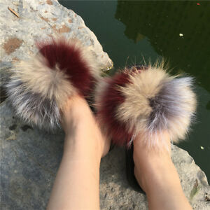 Luxury-Multicolor-Real-Fox-and-Raccoon-Fur-Slipper-Sandal-Flat-Shoes-Slides