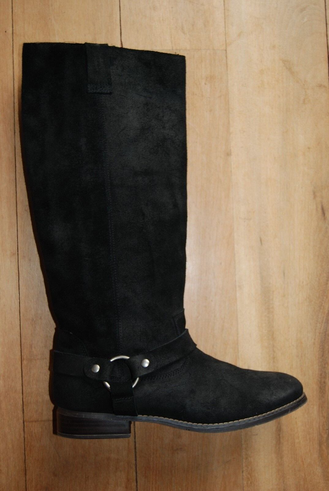 BLack Suede Tall DOLCE VITA Pull On Harness Style Boots 10