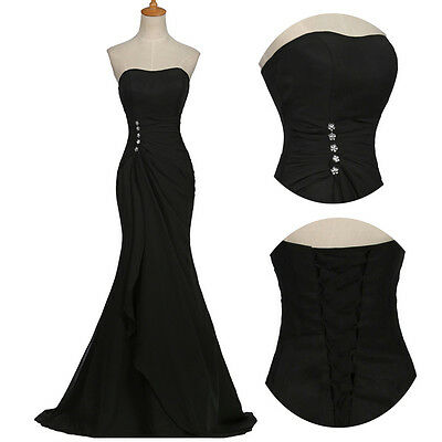 Mother Of The Bride Vintage Formal Long Cocktail Gown Prom Evening Dresses Black
