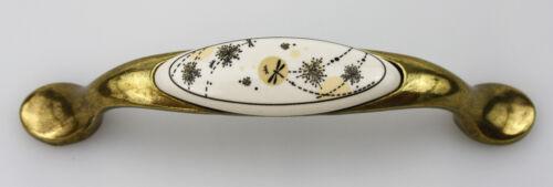 Meubles poignée de tiroir poignée de prozellan blanc avec motif trous 96mm