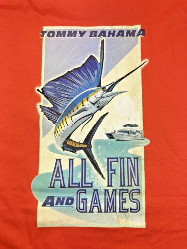 """FISHING NWT Reg $49 Authentic Tommy Bahama /""""ALL FIN /& GAMES/"""" Men/'s Mango"""