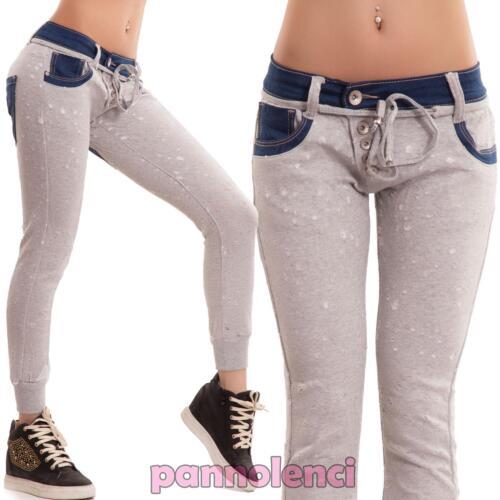 Jeans donna pantaloni cavallo basso skinny harem slim tuta strappi nuovi M10888