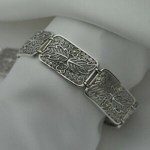 Vintage-Floral-Filigree-Design-Panel-Bracelet-in-Solid-925-Sterling-Silver