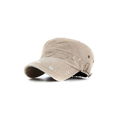 Unisex Mens Ripped Vintage Style Plain Faded Military Hats Cadet Cap Charcoal