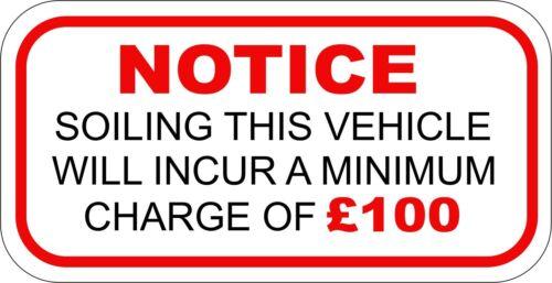 2 x minimum salissures charge £ 100 Autocollant IDEAL TAXI Coach Bus Minibus 100 mm x50mm