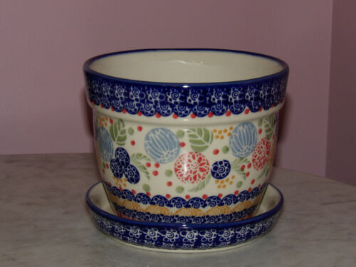 UNIKAT Signature Paper Lantern! Polish Pottery Large Flower Pot with Saucer