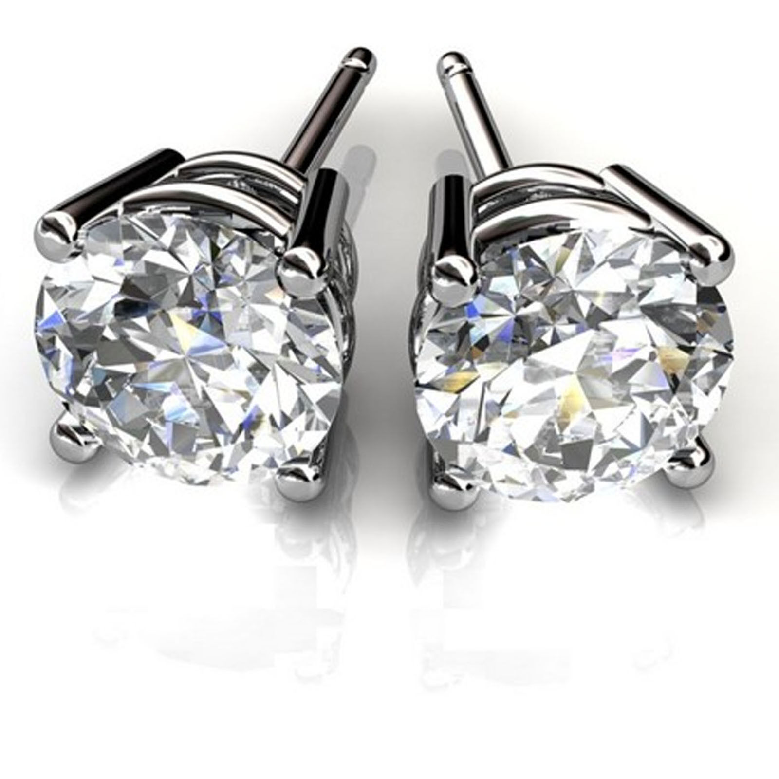 2.00Ct Diamond Earring Studs 14K White gold Brilliant Round Cut VVS1 D For Sale