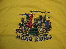 Hong Kong China Skyscraper City Tourist Souvenir Yellow T Shirt Size L