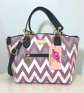 Betsey-Johnson-Dome-Satchel-Crossbody-Handbag-Purple-Gray-Wht-Striped-Purse-NWT