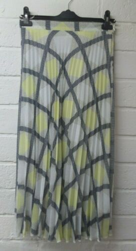 Womens Ladies New Grey /& Lemon Midi Checked Crinkle Pleat Skirt UK 10-18