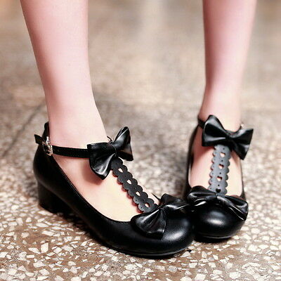 Womens Candy Bowknot Lolita T Strap Mary Janes Chunky Low Heel Pumps Shoes 4-10