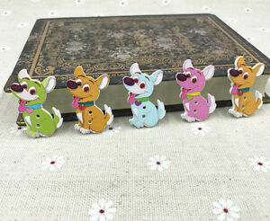 100pcs-Dog-Wooden-Buttons-Mix-color-Sewing-Scrapbooking-decoration-2-holes-35mm