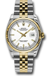 Details about Rolex Datejust 36mm Two Tone White Dial Jubilee Bracelet  Fluted Bezel 116233