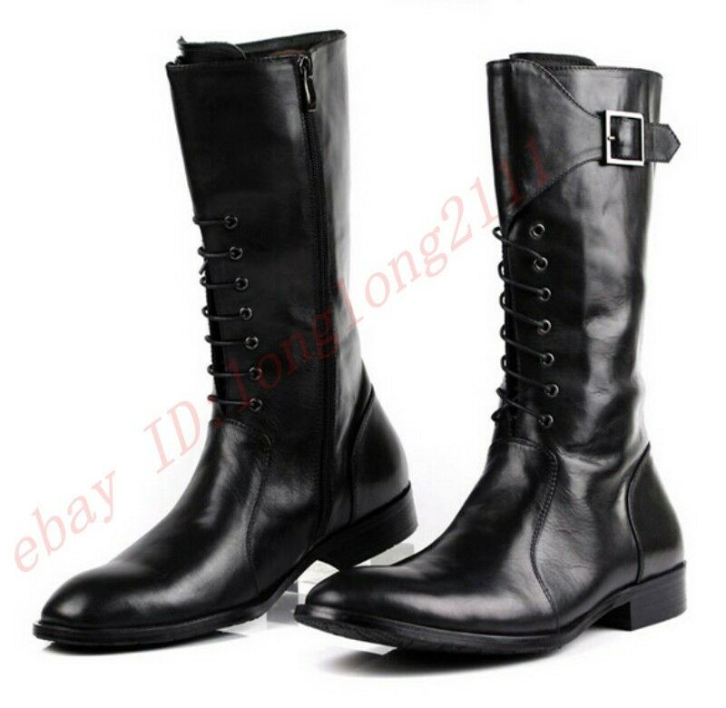 Vogue Mens Leather Military Combat Knee High Pointy Equestrian Riding Pointy High Toe Boots f74fa5